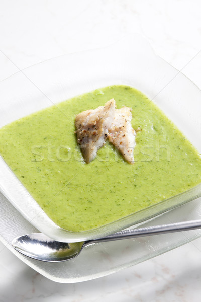 Brokoli karnabahar çorba yeşil plaka Stok fotoğraf © phbcz