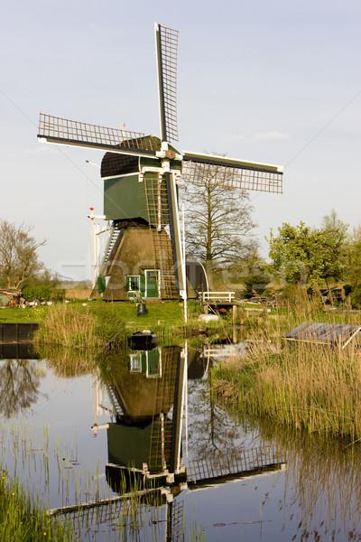 Windmolen Nederland molen outdoor een buiten Stockfoto © phbcz