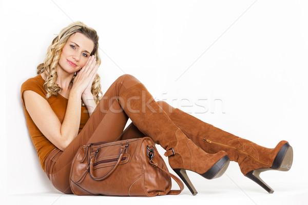 座って 女性 着用 ブラウン 服 ブーツ ストックフォト © phbcz