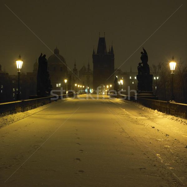 Charles bridge in winter, Prague, Czech Republic Stock photo © phbcz