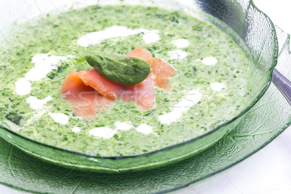 ほうれん草 スープ 魚 プレート スプーン ストックフォト © phbcz