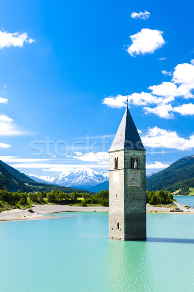 tower of sunken church in Resia lake, South Tyrol, Italy Stock photo © phbcz