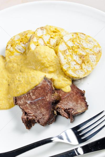Lendenen room plaat vlees mes maaltijd Stockfoto © phbcz
