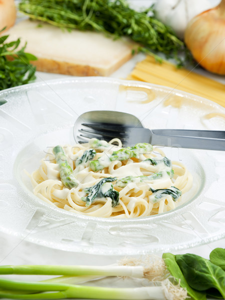 pasta linguine with spinach and asparagus (pasta primavera) Stock photo © phbcz