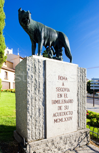 monument of Roman aqueduct, Segovia, Castile and Leon, Spain Stock photo © phbcz