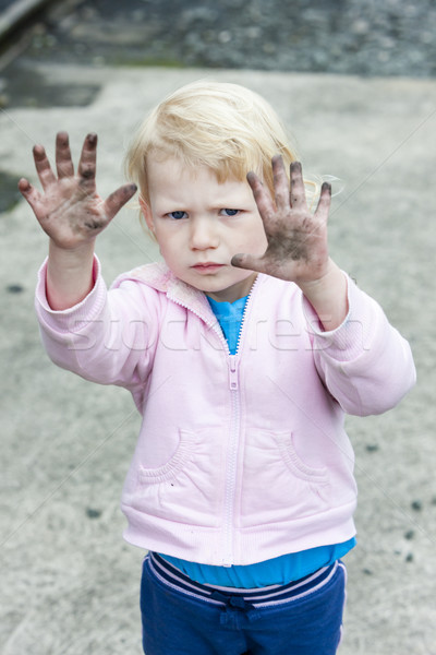 portrait of dirty little girl Stock photo © phbcz