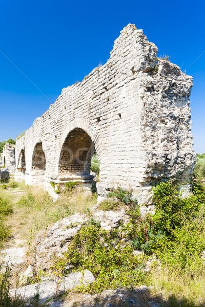 ruins of Roman aqueduct near Meunerie, Provence, France Stock photo © phbcz