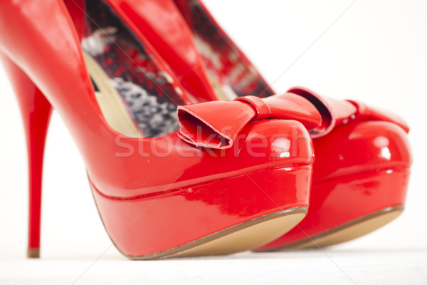fashionable platform red pumps Stock photo © phbcz