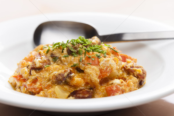 meal called leco (mixture of vegetables and eggs with sausage) Stock photo © phbcz