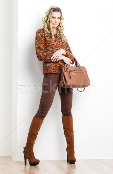 Stałego kobieta brązowy ubrania buty Zdjęcia stock © phbcz
