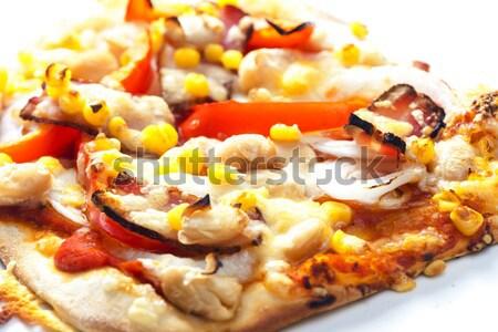 Pizza bacon feijões milho prato pimenta Foto stock © phbcz