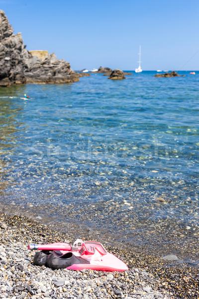 snorkeling equipment, on the beach, Mediterranean Sea, France Stock photo © phbcz
