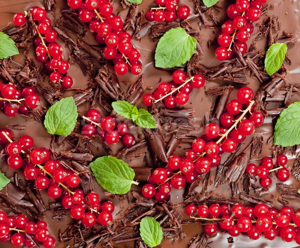 Vermelho groselha de chocolate comida folha Foto stock © phbcz