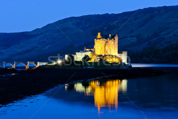 Eilean Donan Castle at night, Loch Duich, Scotland Stock photo © phbcz