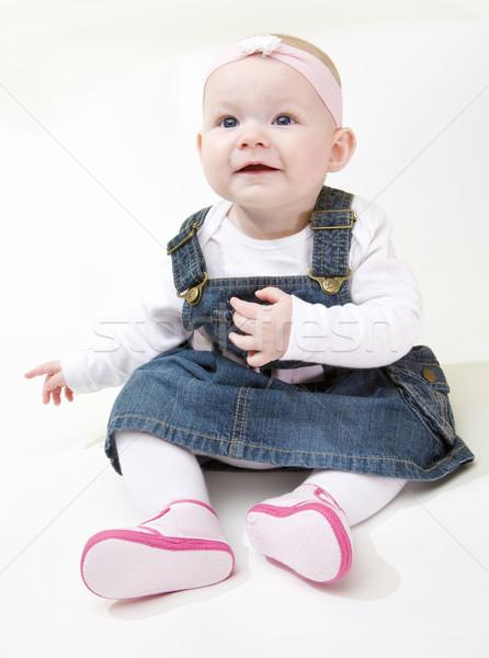 ül kislány gyerekek gyermek lányok gyerek Stock fotó © phbcz