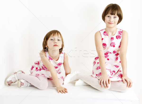 two sisters wearing similar dresses Stock photo © phbcz