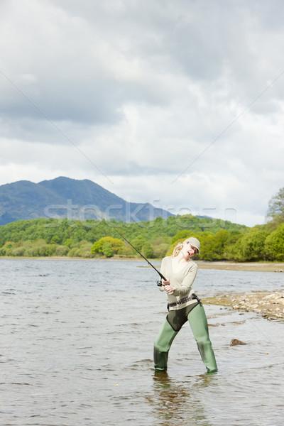 Vissen vrouw Schotland vrouwen sport vrouwelijke Stockfoto © phbcz