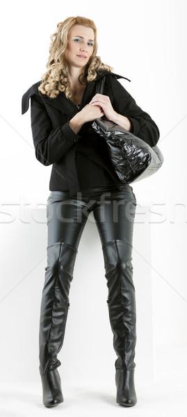 Постоянный женщину черный одежды сумочка женщины Сток-фото © phbcz