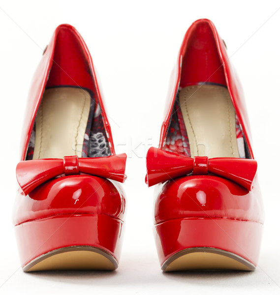 Mode plate-forme rouge chaussures style objet Photo stock © phbcz
