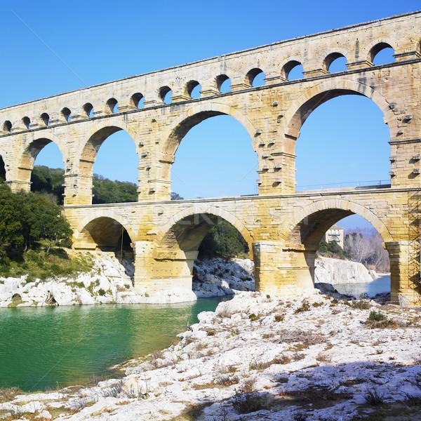 Roman aqueduct, Pont du Gard, Provence, France Stock photo © phbcz