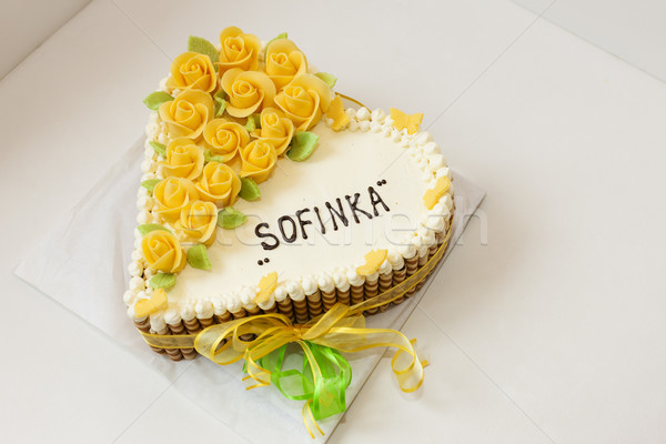 именинный торт продовольствие рождения белый десерта Sweet Сток-фото © phbcz