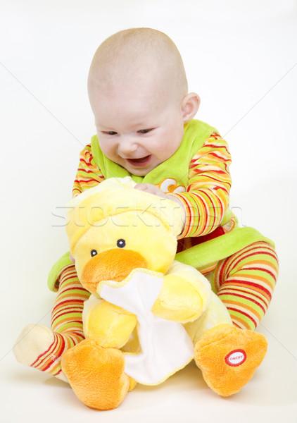 ül kislány kacsa játék gyerekek gyermek Stock fotó © phbcz