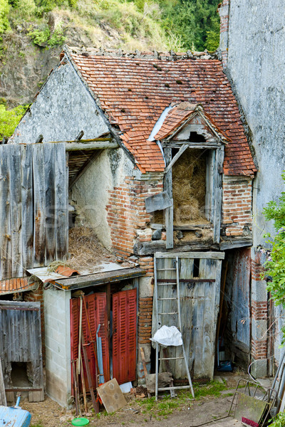 destroyed house, Boussac, Limousin, France Stock photo © phbcz