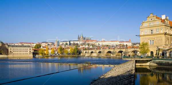 Stock photo: Lavka, Prague Castle with Charles bridge, Prague, Czech Republic