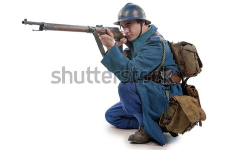young American soldier takes his meals Stock photo © philipimage