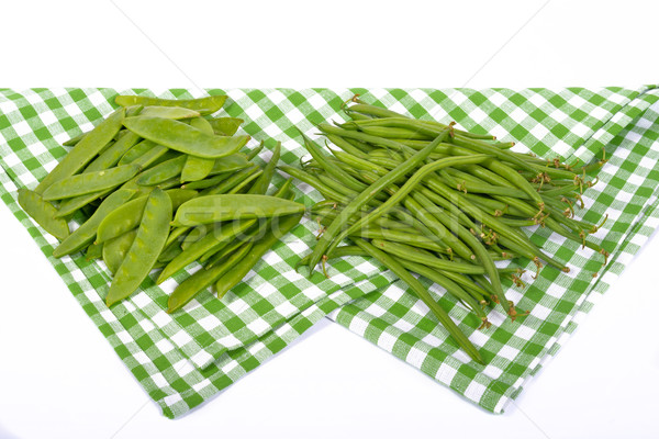 Fagioli verdi piselli verde asciugamano cucina piatto Foto d'archivio © philipimage