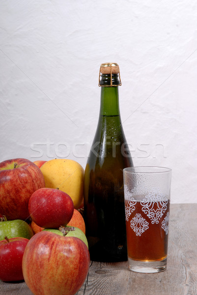 bottle of cider with apples Stock photo © philipimage