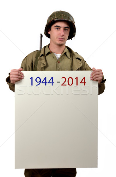 young American soldier shows a sign Stock photo © philipimage