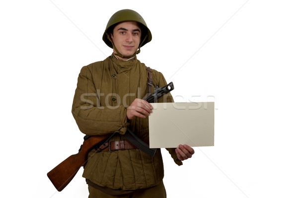 soviet soldier shows sign Stock photo © philipimage