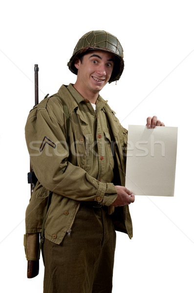 American soldier shows a sign Stock photo © philipimage