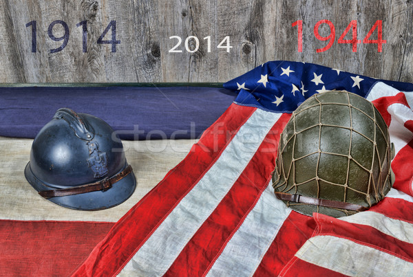 two helmets of two wars Stock photo © philipimage