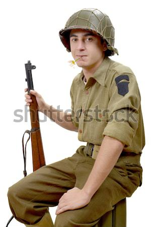 young American soldier takes a sip of alcohol Stock photo © philipimage