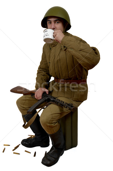 soviet soldier drink a tea Stock photo © philipimage