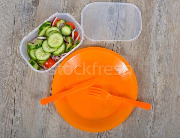 Piquenique laranja prato faca garfo verde Foto stock © philipimage