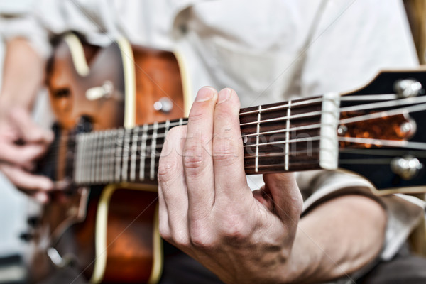 close-up on the fingers of the guitarist Stock photo © philipimage