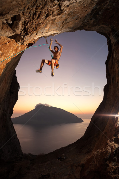 Rock climber falling a cliff while lead climbing Stock photo © photobac