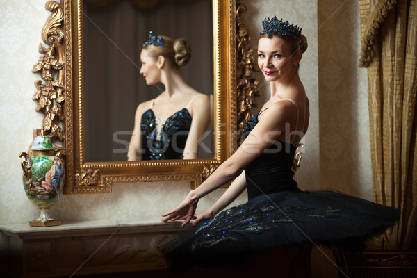 Ballerina in black tutu standing front of mirror Stock photo © photobac