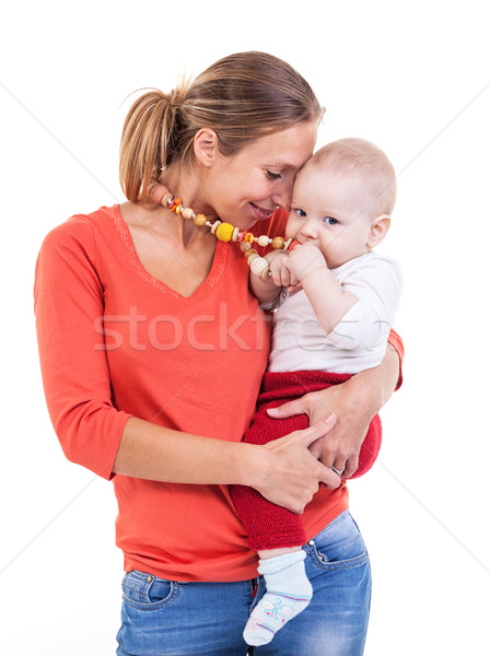 Young Caucasian woman and baby boy over white Stock photo © photobac
