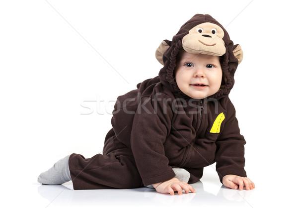 Baba fiú majom jelmez fehér arc Stock fotó © photobac