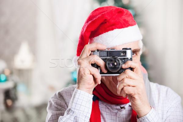 Senior homem foto natal seis Foto stock © photobac