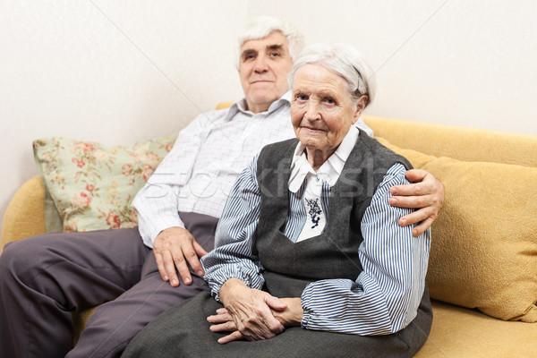 зрелый человек старший женщину сидят диван свет Сток-фото © photobac