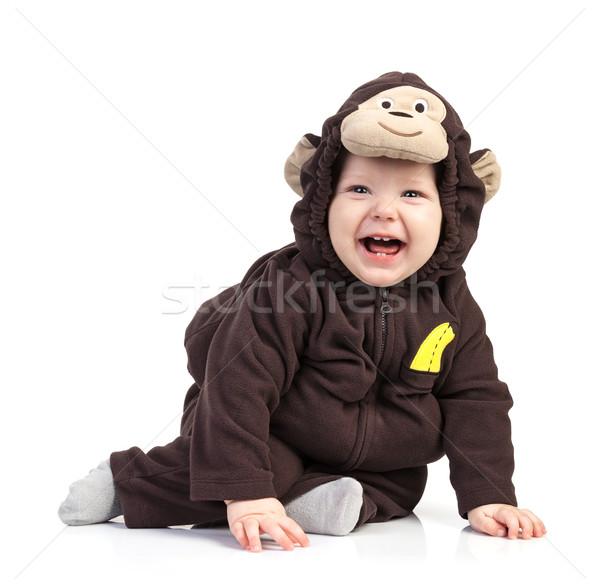 Bebek erkek maymun kostüm beyaz çocuk Stok fotoğraf © photobac