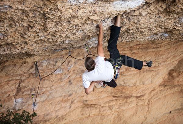 Rocha cara penhasco maneira para cima montanha Foto stock © photobac