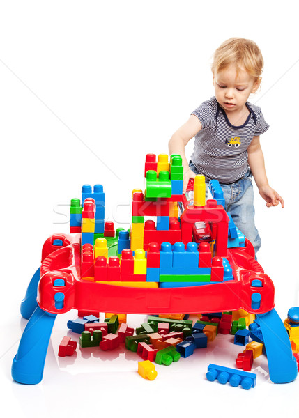 Toddler boy playing with building blocks Stock photo © photobac