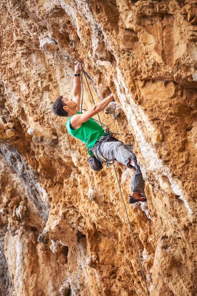 Rocha cara penhasco masculino parede paisagem Foto stock © photobac