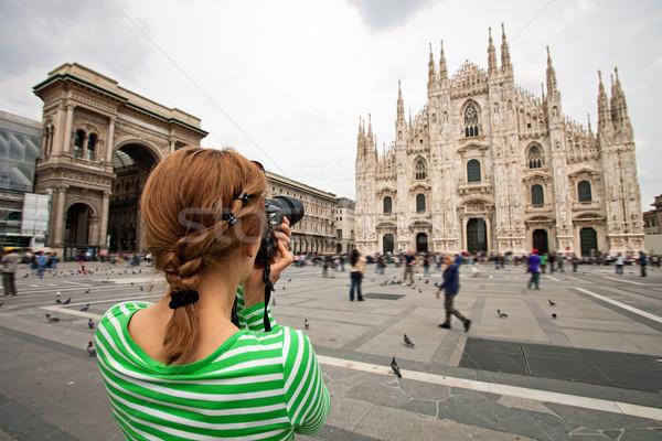 Woman taking picture of Duomo di Milano, Italy Stock photo © photobac